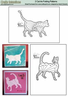 2 Cat Iris Folding Patterns on Craftsuprint designed by Sarah Edwards - 2 A6 iris folding patterns of cats. - Now available for download!