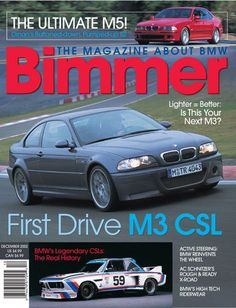 FAMILY FUED: BMW M3 v. BMW M3 CSL  #31 December 2002 E46 M3 CSL preview test IMSA CSL race history E9 Golf 3.0 CS Active Steering Dinan E39 S2 and S3 road test AC Schnitzer X-Road Dethlefsen BMW collection BMW rider wear