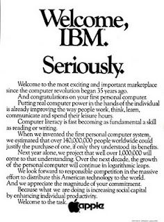 "Apple Welcome IBM Seriously Ad -- The advertisement was released roughly two weeks after the debut of IBM's first personal computer, the IBM PC, on August The playful ad was Apple's way of ""welcoming"" IBM into the PC marketplace. Apple Tv, Apple Watch, Alter Computer, The Computer, Apple Advertising, Advertising History, Advertising Agency, Advertising Design, Evan Spiegel"