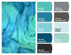 Paint colors from Chip It! by Sherwin-Williams. Decorating with Oceanside - Sherwin-Williams' 2018 Color of the Year. House Exterior Color Schemes, Paint Color Schemes, Exterior Colors, Exterior Paint, Turquoise Paint Colors, Teal Paint, Turquoise Painting, Farmhouse Paint Colors, Paint Colors For Home