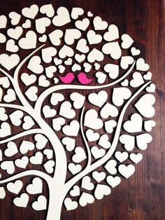 Wedding Guest Book Alternative 3D guest book Wood Rustic Wedding guest book Unique Guest Book Tree of Hearts Leaves Bridal Shower Keepsake The 3D Wedding Guest Books are a huge trend right now. The idea behind this Alternative Guest Book is very clever, your guests sign their names on