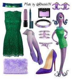 """Celia (Monster Inc.)"" by rheebavn ❤ liked on Polyvore featuring Christian Louboutin, INC International Concepts, Dolce&Gabbana, Chanel, Alexis Bittar, AS29, MAC Cosmetics and NARS Cosmetics"