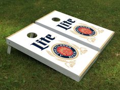 Miller Lite beer Cornhole boards by Cornholetherapy on Etsy Congratulations Promotion, Make Cornhole Boards, Promotion Party, Gifts For Hubby, Miller Lite, Corn Hole, Backyard Games, Wood Work, 30th