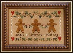 Gingerbread Trio - Cross Stitch Pattern  by Little House Needleworks