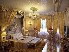 Glamorous bedroom design ideas you will totally love 07 - Luxury Bedroom Interior Design - Elegant Bedroom Design, Luxury Bedroom Design, Royal Bedroom, Gold Bedroom, Dream Bedroom, Fancy Bedroom, Luxury Homes Interior, Home Interior Design, Interior Designing