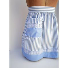 Lovely 1950 Striped Apron - Blue and White - French Country Style    From Jus tSmashing Darling on Etsy