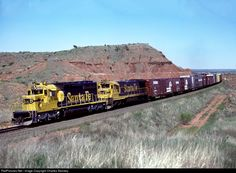 BELVA OK May 15 1978 -- An SD40-2 and a U33C roll toward the east end of Belva. Unit 5049 has only been on the property around seven months.