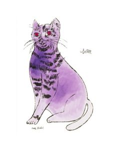 25 Cats Named Sam and One Blue Pussy by Andy Warhol, c.1954 (Purple Sam) Print by Andy Warhol at AllPosters.com