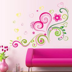 decorative pink love heart flower wall stickers decal for girls home decoration room decals sticker Flower Wall Stickers, Wall Stickers Murals, Vinyl Wall Decals, Rooms Home Decor, Diy Room Decor, Playroom Decor, Deco Design, Wall Design, Romantic Living Room