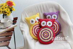 Crochet Pattern Crochet Owl Cushion by Zoom Yummy Crochet. $4.90, via Etsy.