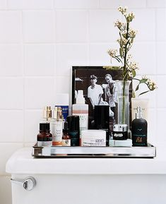 pretty tray for bathroom toiletries