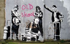 Banksy old skool wallpaper canvas print street art graffiti Banksy Graffiti, Street Art Banksy, Banksy Artwork, Banksy Canvas, Bansky, Urbane Kunst, Graffiti Drawing, Grafiti, Amazing Street Art