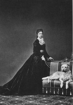 "Photo by unknown photographer of Empress Elisabeth ""Sissi"" (Elisabeth Amalie Eugenie) (24 Dec 1837-10 Sep 1898) Bavaria & her dog Shadow in 1867.  Sissi was the wife of Emperor Franz Joseph I (18 Aug 1830-21 Nov 1916) Austria."