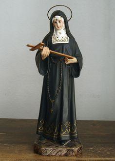 Etsy のSaint Rira of Cascia Santa Rita de Casia Religious Statues Glass eyes Antique Religious Art 1940s Spain /320(ショップ名:GliciniaANTIC)