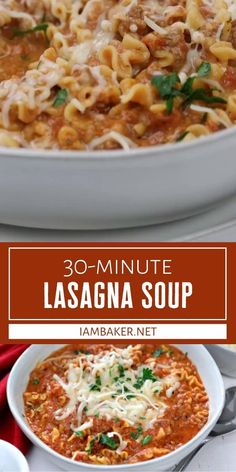 Lasagna Soup is amazing! This recipe is to make in one pot and can be ready in 30 minutes. Packed with meat, cheeses, Italian seasonings, and adorable curly noodles, this comforting meal will become one of your favorites! Have fun in experimenting with other variations!