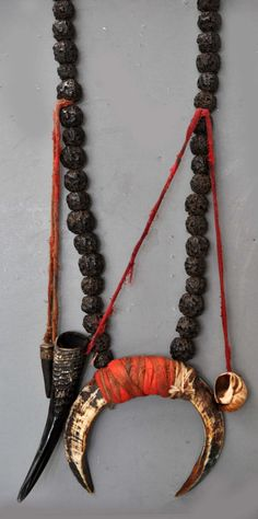 Shaman's necklace with Boars tusk , horns and shells, used by the Magar people, Terrai Valley Nepal (archives sold Singkiang) Tribal Jewelry, Boho Jewelry, Jewelry Art, Jewelry Accessories, Handmade Jewelry, Jewelry Necklaces, Jewelry Design, Jewellery, Vintage Jewelry