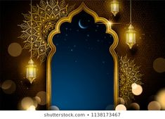Islamic greeting card design with golden arch and hanging lanterns, glittering arabesque background Ramadan Background, Artsy Background, Poster Background Design, Flower Background Wallpaper, Wallpaper Ramadhan, Foto Frame, Photo Frame Design, Islamic Posters, Islamic Art Pattern
