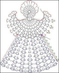 Tricô e Crochê - Knitting and Crochet: Enfeite de Natal em Crochet - Anjo Natalino Crochet Angel Pattern, Crochet Angels, Crochet Diagram, Crochet Chart, Thread Crochet, Filet Crochet, Crochet Motif, Crochet Flowers, Knit Crochet