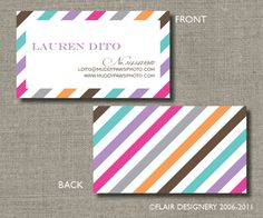 Pretty type and chevron pattern for some cute promotional cards to pretty little stripes calling cards call me by flairdesigneryllc 3900 via etsy colourmoves