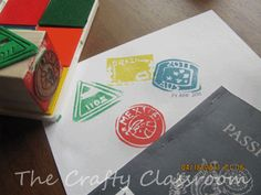 make your own rubber stamp from foam board (washed meat tray)  to mark the passport books at the geography fair.