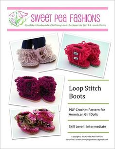 "Loop Stitch Crocheted Boots 18"" Doll Shoes"