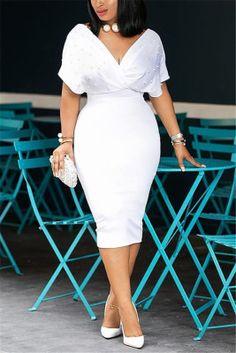 White Fashion Sexy V Neck Dress Burgundy Fashion, White Fashion, Pink Fashion, Style Fashion, Cheap Fashion, Hot Dress, Jumpsuit Dress, Cute Dresses, Beautiful Dresses