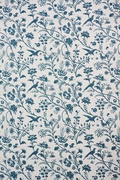 FABRIC PRINT | Laura Ashley Vintage Elveden Sapphire Wallpaper | Blue and White |