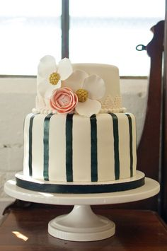 Striped cake by BSweetCakeBoutique.com shot by RusticWhitePhotography.com