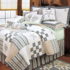 Bright Beach themed quilts with various sealife motifs: starfish, coral and seashells. These quality beach quilt sets are luxury, over-sized, and will enhance your beach bedroom decor. Nautical Bedding, Beach Bedding, Coastal Bedding, Coastal Bedrooms, Coastal Living Rooms, Nautical Home, Coastal Decor, Luxury Bedding, Nautical Quilt
