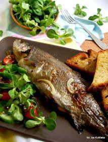 ryba, pstrąg, z piekarnika, pieczony, ryby,