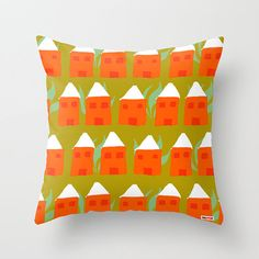 Houses Decorative throw pillow cover  Green pillow by thegretest, $55.00