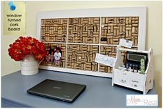Use corks and an old window to make a cork board!