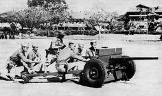 37 mm anti-tank Gun in service with the Philippine Scouts, Fort William McKinley near Manila, Philippine Islands, circa 1941 Military Photos, Military History, Bataan Death March, William Mckinley, War Medals, Fort William, Ww2 Photos, Prisoners Of War, Armed Forces