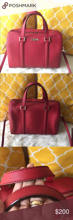 🌸OFFERS?🌸Kate Spade All Leather Medium Satchel 🌷Authentic🌷Excellent shape. Minimal sign of use on inside and metal logo. All parts intact and functional. Features a detachable and adjustable strap for shoulder or crossbody. Zip top to close, total of 3 pockets inside and gold hatdware. Handle for arm and metal feet to secure when down. The size is medium but the space inside is large. Very spacious bag. Great for work/travel/school/diaper bag. Rosy red color. Don't be shy to make an…