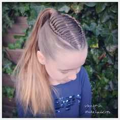 Dutch braids/feathered braid into ponytail a hairstyle inspired by Charlotte Herrmann Photo taken Little Girl Hairstyles, Pretty Hairstyles, Braided Hairstyles, Top Braid, Natural Hair Styles, Long Hair Styles, Braided Ponytail, Hair Dos, Hair Hacks