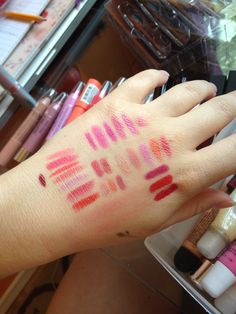 The swatch fest my hand went through when choosing which lipsticks I'd bring to the UK when I moved #bbloggers #MOTD #FOTD #LOTD #beauty #makeup #lipstick #lipjunkie