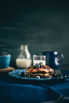 &_ This easy casserole makes for an elegant breakfast or brunch. Almond Pancakes, Pancakes And Waffles, Blueberry Pancakes, Blueberry Breakfast, Breakfast Pancakes, Fruit Pancakes, Paleo Pancakes, Brunch, Food Porn