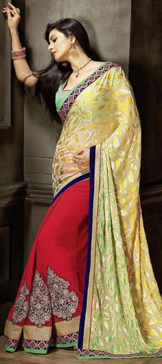 172785 Multicolor  color family Embroidered Sarees, Party Wear Sarees in Brasso, Faux Georgette fabric with Border, Machine Embroidery, Patch, Stone work   with matching unstitched blouse.