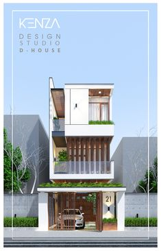 3 Storey House Design, Bungalow House Design, House Front Design, Small House Design, Narrow House Designs, Cool House Designs, Facade Design, Exterior Design, Small House Exteriors