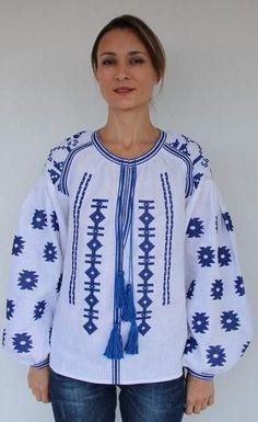 Fanm Mon Summer White Linen Round Neck Blue Vyshyvanka Blouse Embroidery size XS-XXL BLO0108
