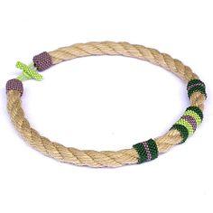 Rope necklace  marine style necklace  art beadwork by Naryajewelry, $35.00
