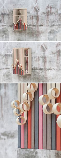 Swedish design firm Stoft Studio, have created the 'Whittle Away' collection that includes a free-standing cabinet and a wall-mounted cabinet, with wood facades that appear to peel away to reveal the colorful form underneath. Cool Furniture, Furniture Design, Dna, Free Standing Cabinets, Armoire, Wood Facade, Interior Window Shutters, Wooden Architecture, Free Interior Design