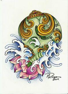 Crânio tibetano e flor de lótus