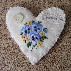 Valentine SALE Handmade brooch textile Blue Flowered Heart vintage embroidered