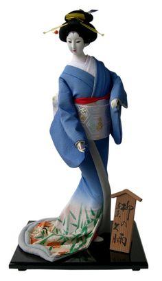 дама в голубом кимоно, японская традиционная кукла