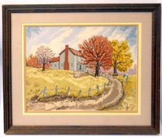 Linda Myers Autumn at Sinking Creek Completed Counted Cross Stitch Scene 17 x 20 Embroidery Needles, Crewel Embroidery, Embroidery Designs, Yellow Leaves, Counted Cross Stitch Kits, Types Of Art, Craft Kits, Fun Projects, Crochet