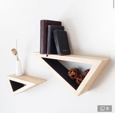 Set of Two: Triangular Floating Shelves w/ Contrast Paint from Fernweh Woodworking. Cubby Shelves, Wooden Shelves, Floating Shelves, Shelving, Furniture Inspiration, Diy Woodworking, Decoration, Home Projects, Diy Furniture