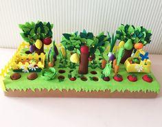 Купить Грядка с овощами и фруктами - овощи из фетра, фрукты из фетра, грядка, развивающие игрушки, детки