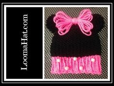 Loom Knit Minnie Mouse Hat on Round Loom - Cute Baby Hat with Pom Pom Animal Ears - YouTube