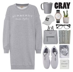 """Gray"" by pure-vnom on Polyvore featuring Burberry, NIKE, Fiorelli, Vietri, EyeBuyDirect.com, Topshop and Byredo"